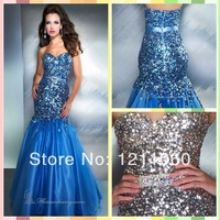 New Long Mermaid Sequin Prom Dress 2014 Sexy Mermaid Sweetheart Sleeveless Royal Blue Organza Prom Dresses Formal Evening Dress