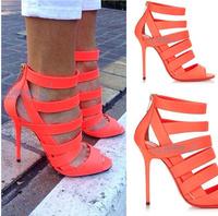 2014 fashion gladiator shoes women elegant orange sandals Dress pumps For Woman class fashion high heels for women