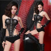 Sexy Womens Club Dance Costume Black Bodysuit Halter Monokini Style With CZ Jazz XS M L Free Shipping