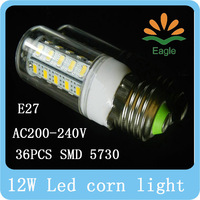 SMD 5730 E27 LED AC200-240V 12W LED bulb lamp 36leds Warm white/white 5730 Corn Light chandelier free shipping
