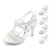 SHOEZY Unique Womens Silver White Satin Pearl Rhinestone Platform Pumps Ankle Strap Wedding Bridesmaid Party Heels Shoes