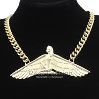 Fab Egyptian Goddess Isis Ankh Wing Chunky Choker Curb Chain Necklace Bib Wicca Pagan Jewelry Free Shipping