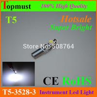 Best quality 20pcs White 6000K 58 70 73 74 T5 Dashboard LED Car Gauge 3 3528 SMD LED Wedge Bulb Light free shipping