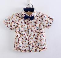 KIDS BOY summer  shirt  COTTON shirt Short sleeve 5pcs lot for 80-120cm BABY boy free shipping
