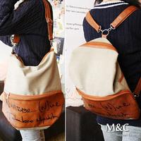 2014 Fashion Beige Canvas Girls Travel Shop Shoulder Bag PU Leather Patchwork Backpack Cute Book Bag Satchel Free Shipping BD004