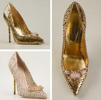 2014 Summer Women rhinestone high heel pumps Women elegant cut-outs pumps pointed toe slip-on gladiator dress shoes