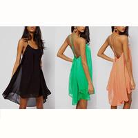 2014 HOT Summer Womens Ladies Sexy Sleeveless Halter Backless Strap Metal Buckle Chiffon Beach Dress Mini Dresses[YF519-YF530]