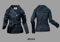 Women Fashion British Slim Belted Spring/Autumn Short  Coat  Designer Outerwear Elegant Double Breated Jacket #0528