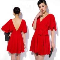New 2014 short women summer dress V-Neck hot&sexy casual dress vestidos chiffon fashion dresses party evening elegant