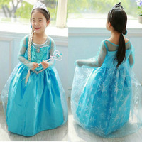 New 2014 Hot  Children girl party dress,Frozen Elsa costume dress,fashion summer Baby & kids one pieces,Baby Cosplay Clothing