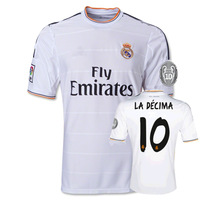 New13/14 15 real madrid Home #10 LA DECIMA  White jerseys football kit 2013-2014 Cheap Soccer uniforms free shipping