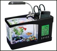 Usb desktop aquarium Mini fish tank water pump light calendar alarm clock