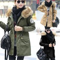 Free shipping 2014 Hot Fashion New Women Winter Warm Thicken Faux Fur Hood Jacket Parka Coat Overcoat Outwear 3 Color