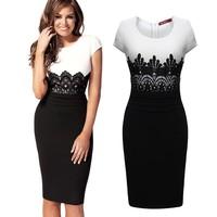 New 2014 Women Business Work Sheath Bodycon Pencil Dress Career Office Knee-Length Midi Vintage Dress Summer Bandage Dresses