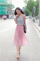 Free shipping 2014 summer new style Sweet princess chiffon dress Elegant bump color pleated waist vest dress