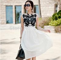 European stations 2014 Summer New High Street Women Dress big star Embroidery Long Chiffon Brief Dress