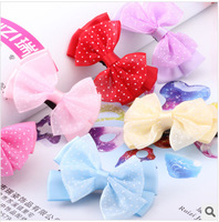 20PCS Free Shipping Pretty Polka Dot Bow Knot Kids Child Hair Clips Hair Pins for Girls
