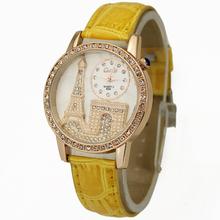 High Quality Yellow Women's Girls Ladies Jewelry Diamond Eiffel Tower Stylish Quartz Wrist Watches, Free & Drop Shipping