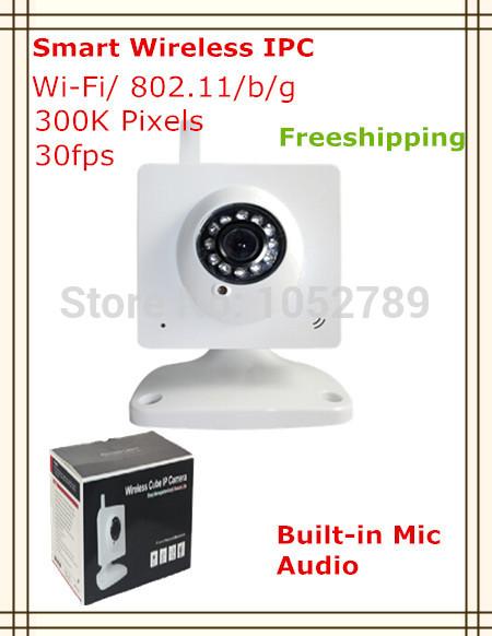 Wireless P2P 300K pixels 3.6mm lens built in mic audio out socket smart IP cctv camera 15pcs/lot freeshipping(China (Mainland))