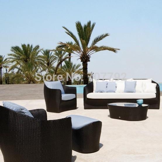 2015 New Product Creative Outdoor Garden Furniture China Poly Rattan Sofa Set(China (Mainland))