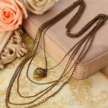 New Fashion Jewelry  Heart Pattern Retro Long Pendant Sweater Chain Women Necklace & pendants