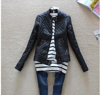 2014 Big Brand Модный Женщины's Slim Motorcycle Leather Jacket Autumn Winter ...