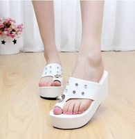 Rhinestone buckle summer 2014 new Korean high-heeled slope with thick crust muffin cap toe white women's sandals and slippers