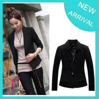 2014 fashion women suit slim one button jacket plus size blazer, black and white size S-XXXL Dropship WO-002