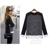 NEW 2014 Fashion Spliced Patchwork Sweater Women Elegant Pullover Stylish Slim Zipper Pocket O-neck Knitted Long Sleeve Sweater