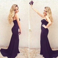2014 New Arrival Mermaid Formfitting Bodycon Spaghetti Straps Long Formal Events Evening Dress Women Gown Free Shipping WL280