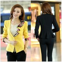 New 2014 autumn jacket women's flower dovetail ruffle collar blazer women slim short design female blazer outerwear X26
