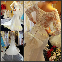 Luxury Trumpet Mermaid Full Sleeve Scoop Princess Bowknot White Lace Up Wedding Dress Crystal Bowkont Bridal Gown(XNE-WD047)
