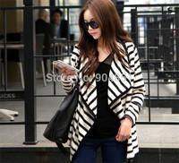 Drop Shipping Hot Casual Fashion Women Long Sleeve Striped Peplum Tops Cardigan Blouse Jacket Wholesale T11-31