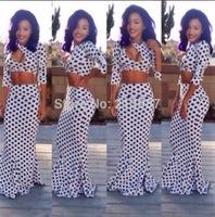 2014 Summer new women polka dot print slim hip fish tail long skirt sexy open bra bandage bodycon two piece sets twinset