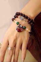2014 Classical Lucky Clover Garnet Beads Charms Bracelet with 925 Silver Heart Spacer Beads Best Gift Jewelry for Women