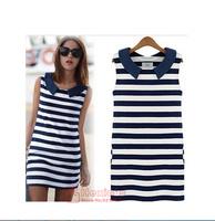 2014 Free Shipping  Clothing Women Fashion Denim Sailor Collar Sleeveless Casual Striped Jeans Dress Ladies vestido
