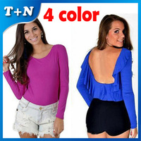 Free Shipping 2014 Summer Bandage Sexy Halter Flouncing Plus Size Tops T-shirt For Women Clothing Wholesale