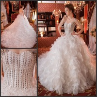 Luxury Spaghetti Straps Sweetheart Strapless Princess Feather White Lace Up Wedding Dress Crystal Bow Bridal Gown(XNE-WD048)