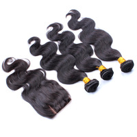 5A Malaysian virgin hair body wave 1pc 3 part silk base closure with 3pcs hair bundles 100% unprocessed human hair extensions