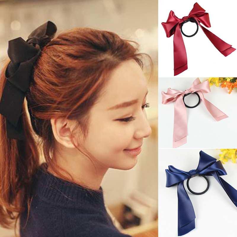 Womens Sweet Elastic Ribbon Bow Band Hair Rope Satin Scrunchie Ponytail Holder(China (Mainland))