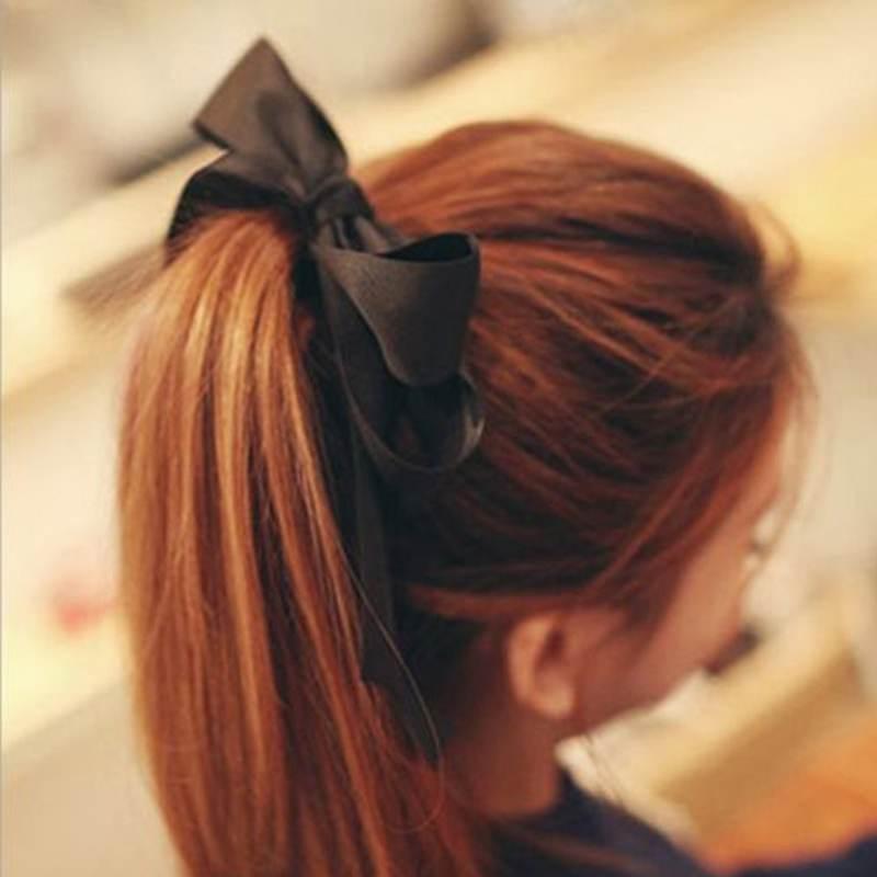 Lady Girl Scrunchie Ponytail Holder Satin Ribbon Bow Hair Band Hair Rope New(China (Mainland))