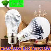 Dimmable Ball Bulb 4pcs/lot  3W 4W 5W 9W 10W 12W 15W B22  High power Globe light LED Bulb LAMPS 220V 110V 240v  silver body LB4