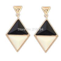 14 fashionable brief  summer elegant rhombus color block all-match earrings female valentine day gift Europe popular design