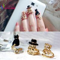 3pcs/set 2014 hot Fashion Gold Metal Enamel Cat Cap Man Stars Top Adjustable Designer finger Nail Rings for women bague Bijoux