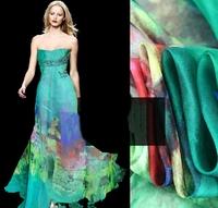 Beautiful Floral Print Silk Chiffon Fabric For DIY Summer Dress/Scarf/Shawl  135CM*100CM  6Mommie