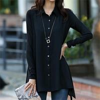 Fashion Office Lady Black Shirt Women Clothing 2014 Korean Casual Design Tops Charm Women Formal Chiffon Blouse Plus Size XXXXXL