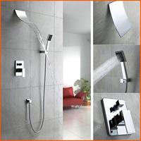 Brass Waterfall Bathroom Shower Faucet Handles Shower Hotels Shower Set Bath Mixer Water Tap torneira chuveiro de parede