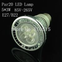 High Quality LED Light PAR20 15W 5X3W Spotlight E27,4pcs/lot sliver 110V- 240V Cool White Warm White Par20 Led bulb Low price