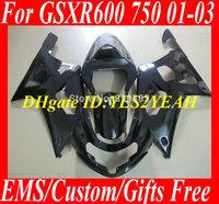 Custom Fairing kit for SUZUKI GSXR600 750 01 02 03 GSXR 600 GSX-R750 K1 2003 2001 2002 All gloss black ABS Fairings set Sm35