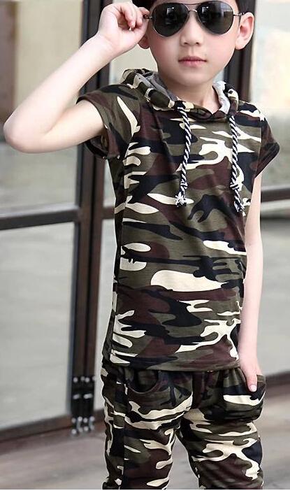 Children's wear the new summer 2014 children suit camouflage Boys uniform two-piece short sleeve T-shirt + pants(China (Mainland))